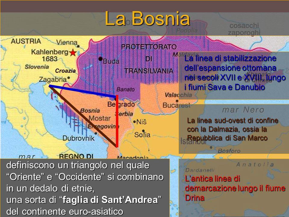 La Bosnia La linea di stabilizzazione dell'espansione ottomana nei secoli XVII e XVIII, lungo i fiumi Sava e Danubio.