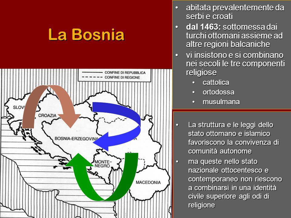 La Bosnia abitata prevalentemente da serbi e croati