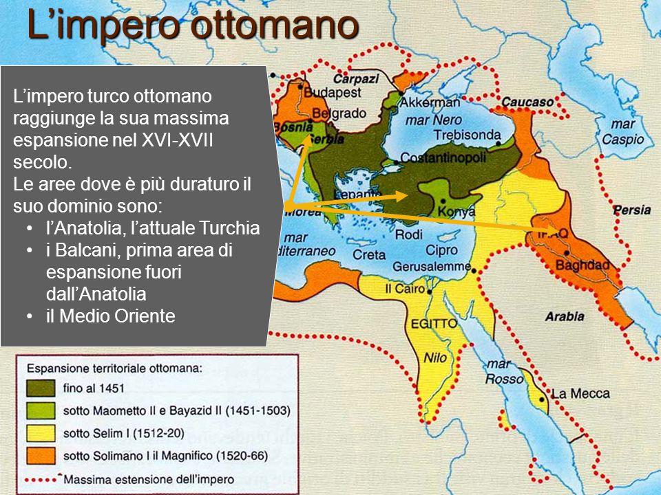 L'impero ottomano L'impero turco ottomano raggiunge la sua massima espansione nel XVI-XVII secolo. Le aree dove è più duraturo il suo dominio sono: