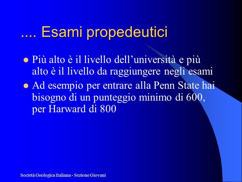 .... Esami propedeutici Più alto è il livello dell'università e più alto è il livello da raggiungere negli esami.