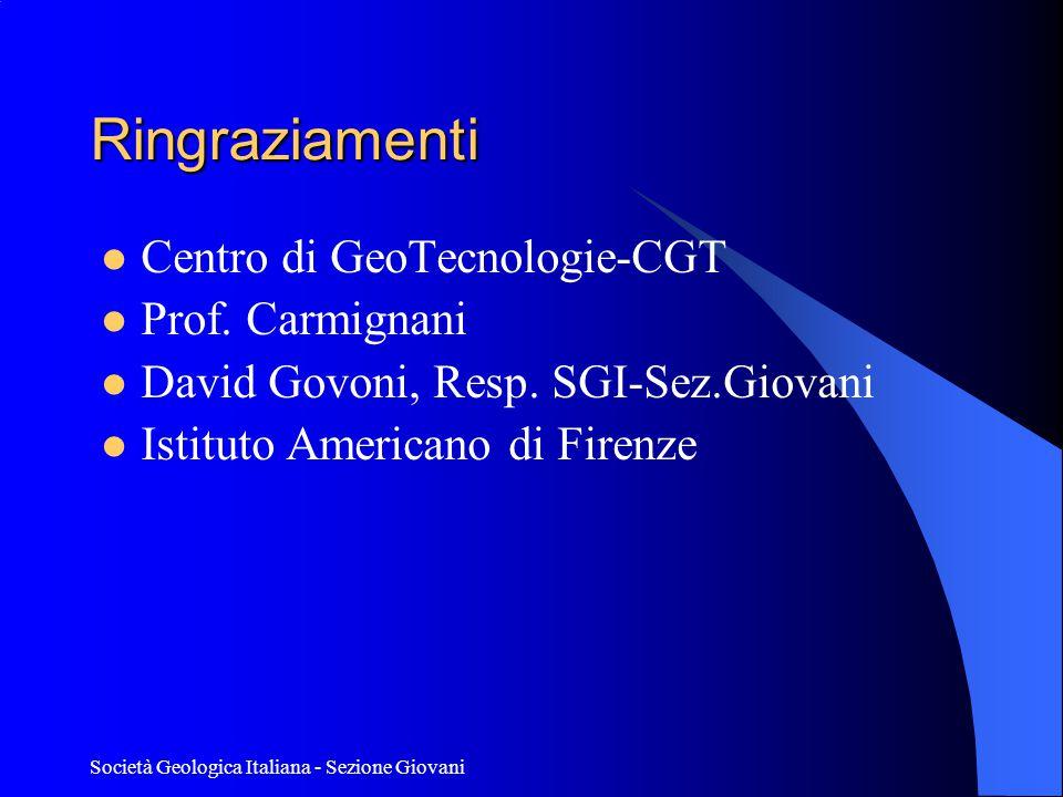 Ringraziamenti Centro di GeoTecnologie-CGT Prof. Carmignani