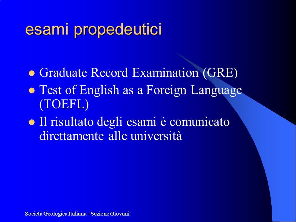 esami propedeutici Graduate Record Examination (GRE)
