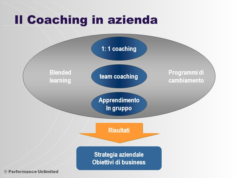 Il Coaching in azienda 1: 1 coaching team coaching Blended learning