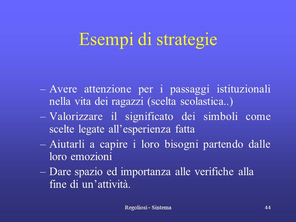 Esempi di strategie Avere attenzione per i passaggi istituzionali nella vita dei ragazzi (scelta scolastica..)