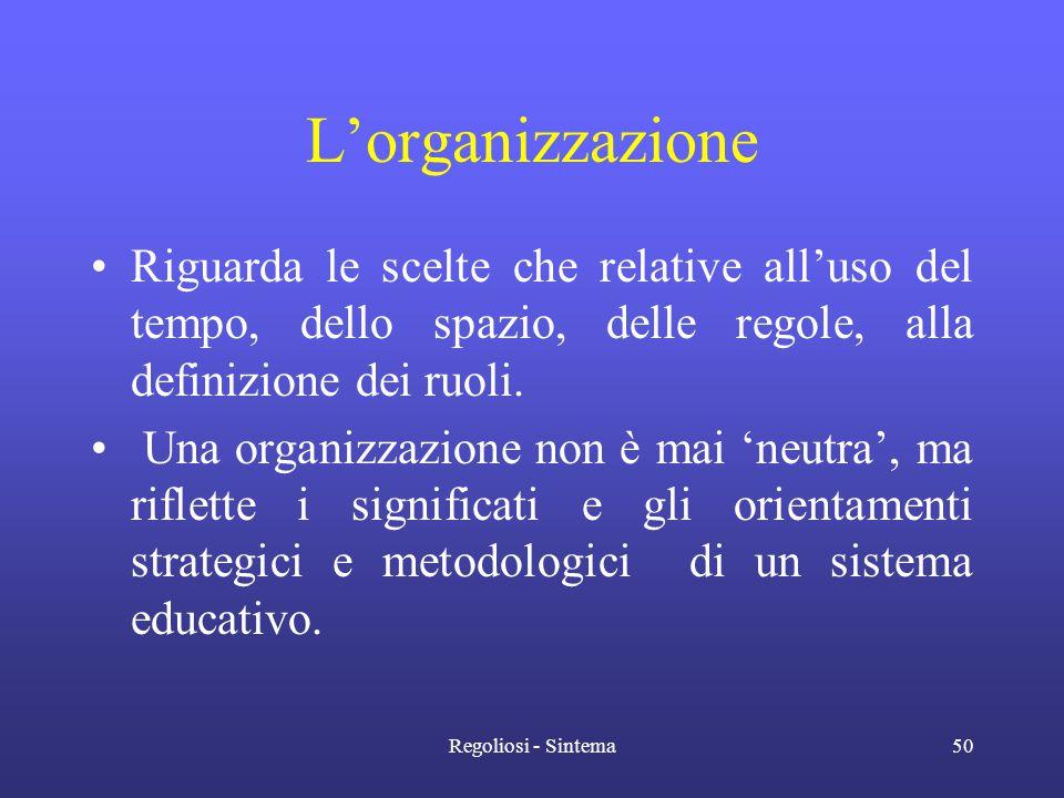 L'organizzazione Riguarda le scelte che relative all'uso del tempo, dello spazio, delle regole, alla definizione dei ruoli.