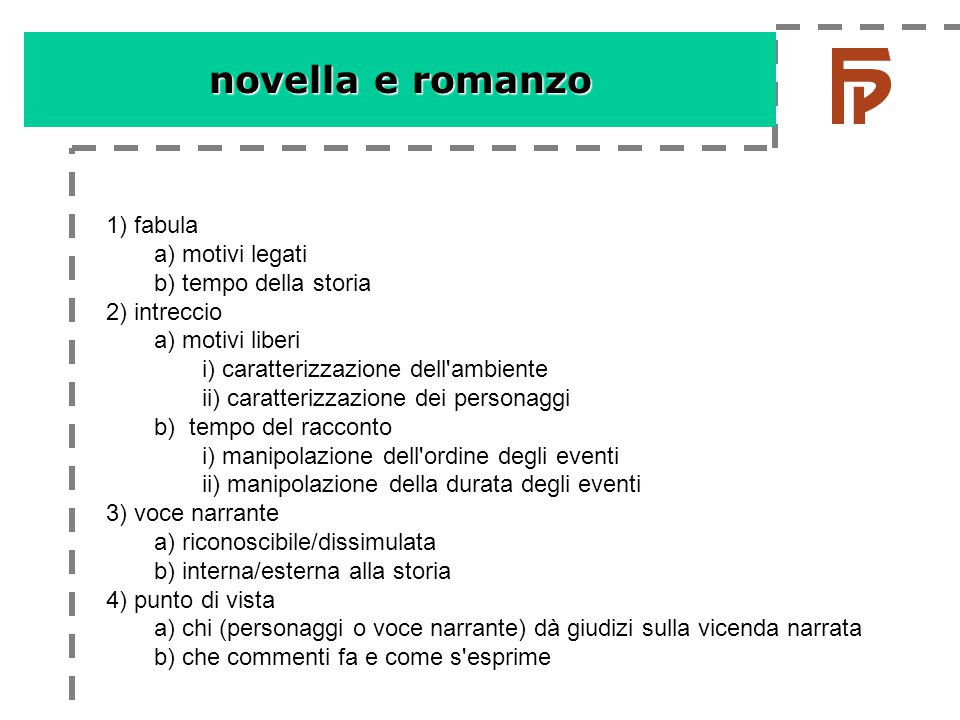 novella e romanzo 1) fabula a) motivi legati b) tempo della storia