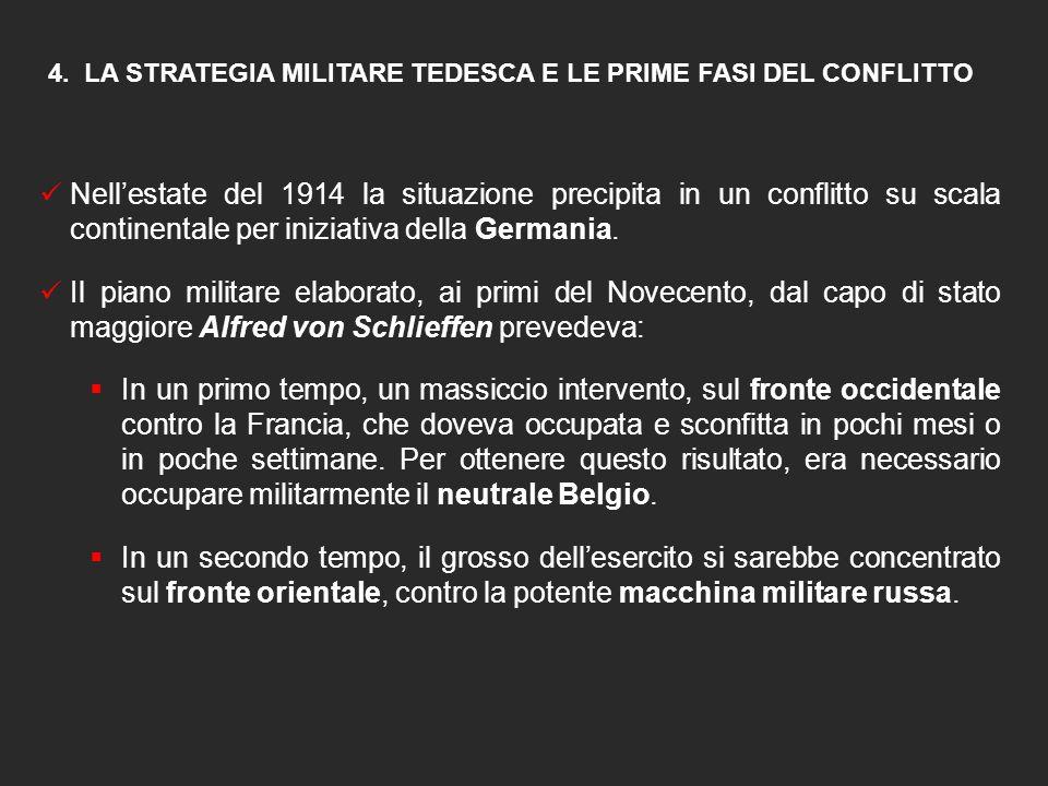 4. LA STRATEGIA MILITARE TEDESCA E LE PRIME FASI DEL CONFLITTO