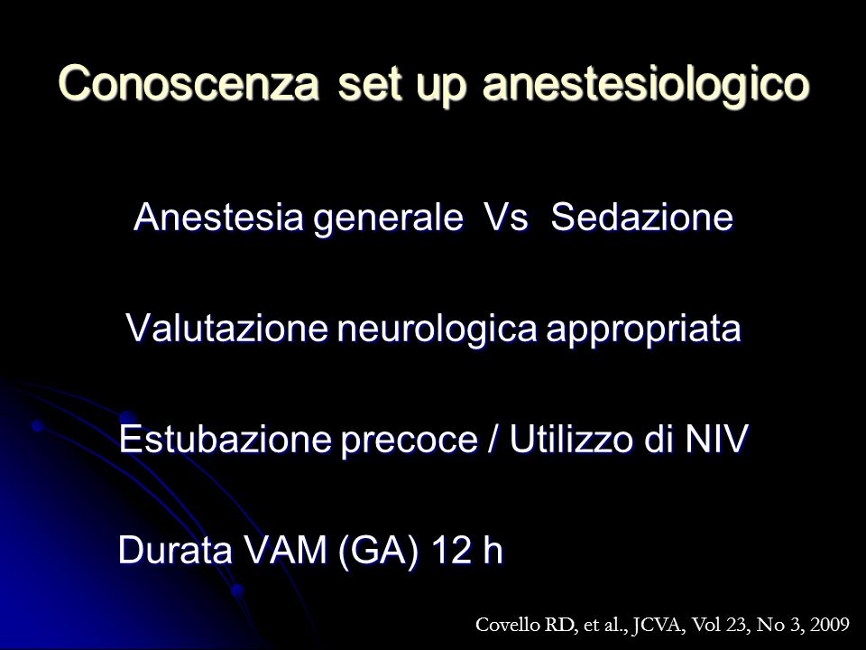 Conoscenza set up anestesiologico