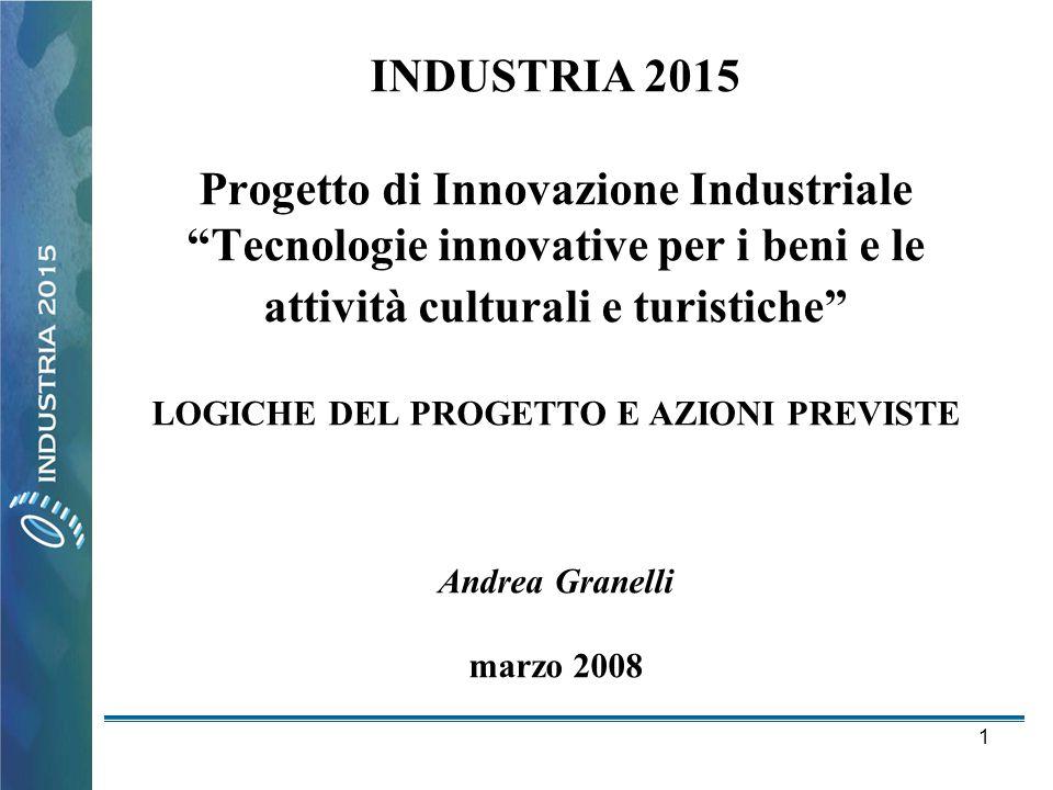 INDUSTRIA 2015 Progetto di Innovazione Industriale Tecnologie innovative per i beni e le attività culturali e turistiche LOGICHE DEL PROGETTO E AZIONI PREVISTE Andrea Granelli marzo 2008