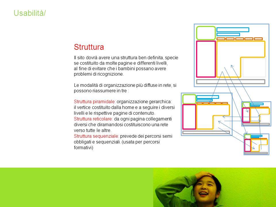Usabilità/ Struttura. Il sito dovrà avere una struttura ben definita, specie se costituito da molte pagine e differenti livelli,
