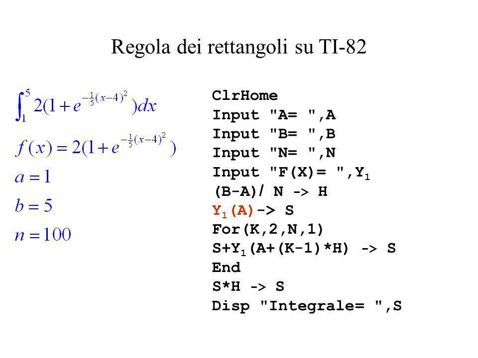 Regola dei rettangoli su TI-82