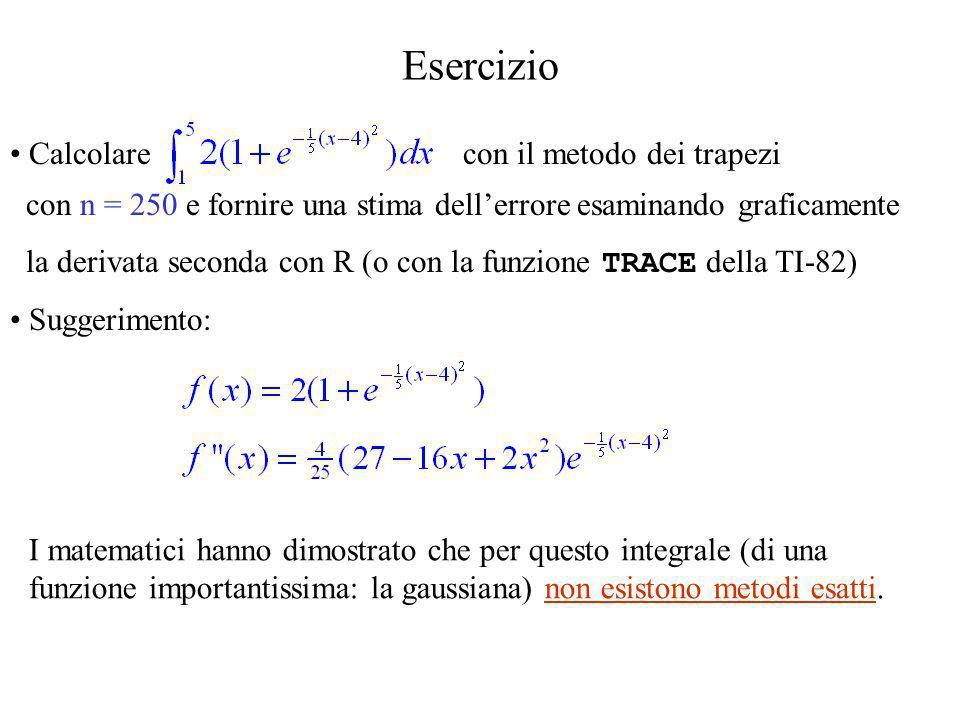 Esercizio Calcolare con il metodo dei trapezi