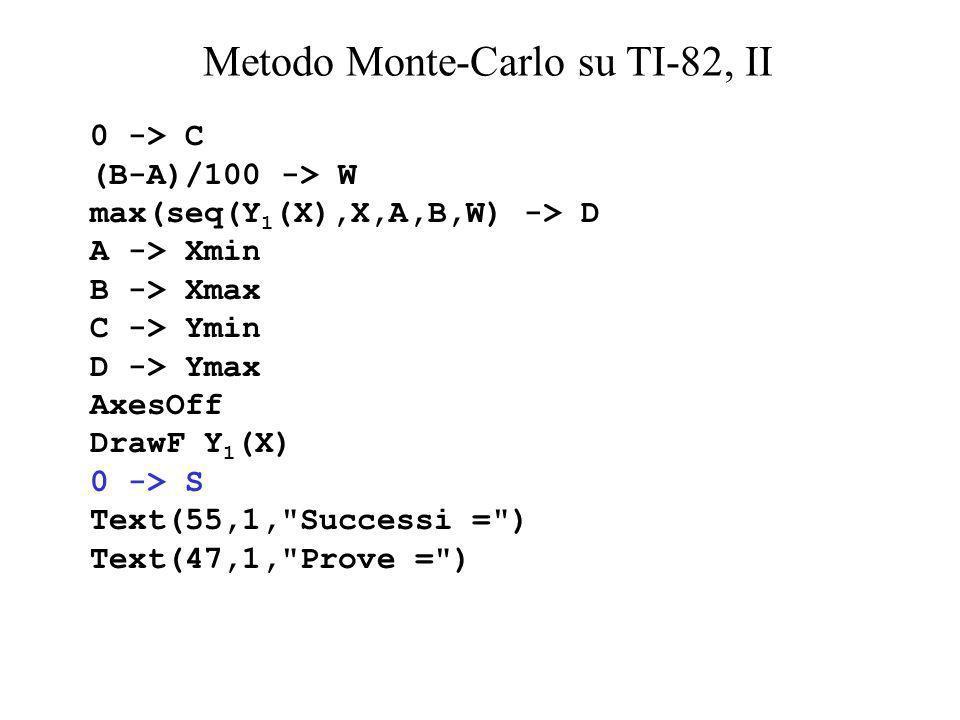 Metodo Monte-Carlo su TI-82, II
