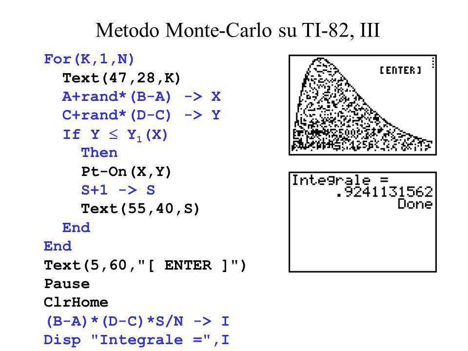 Metodo Monte-Carlo su TI-82, III