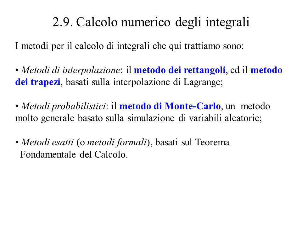 2.9. Calcolo numerico degli integrali