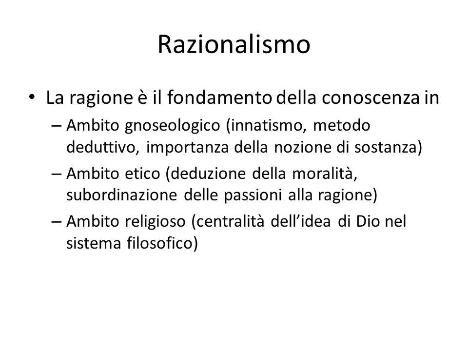 Razionalismo La ragione è il fondamento della conoscenza in