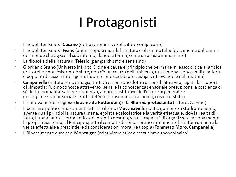 I Protagonisti Il neoplatonismo di Cusano (dotta ignoranza, explicatio e complicatio)