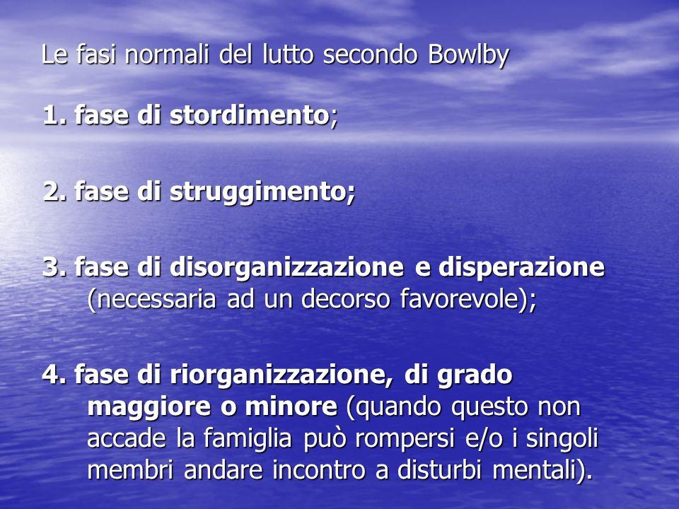 Le fasi normali del lutto secondo Bowlby