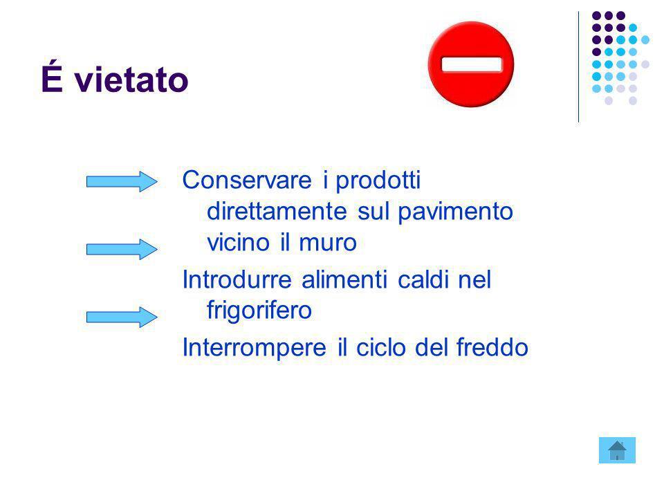 É vietato Conservare i prodotti direttamente sul pavimento vicino il muro. Introdurre alimenti caldi nel frigorifero.