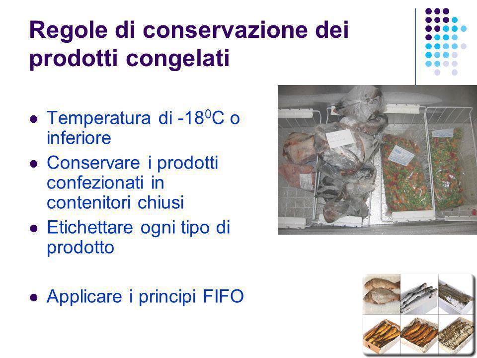 Regole di conservazione dei prodotti congelati