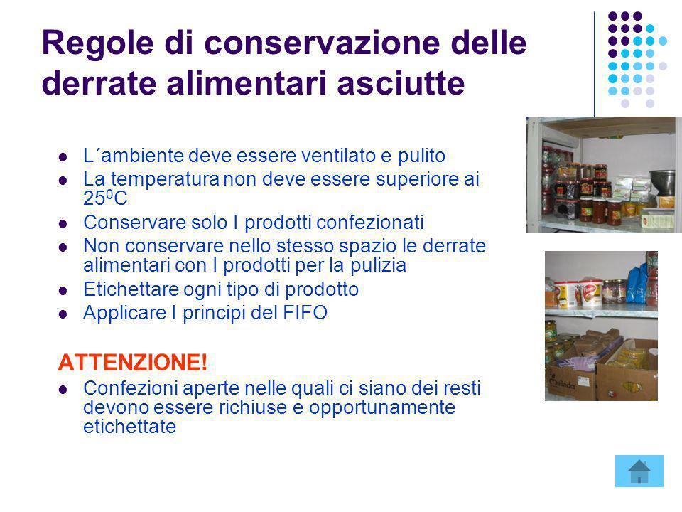 Regole di conservazione delle derrate alimentari asciutte