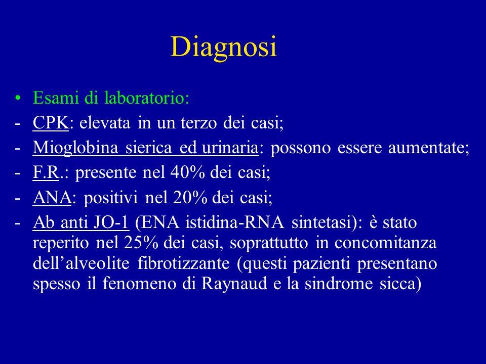 Diagnosi Esami di laboratorio: CPK: elevata in un terzo dei casi;