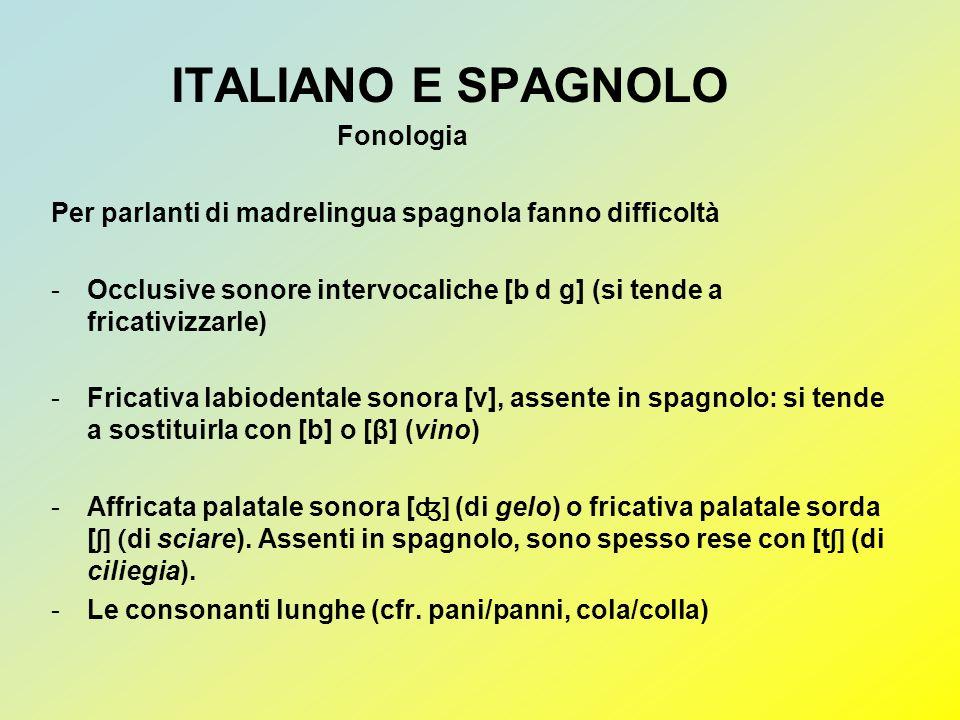 ITALIANO E SPAGNOLO Fonologia