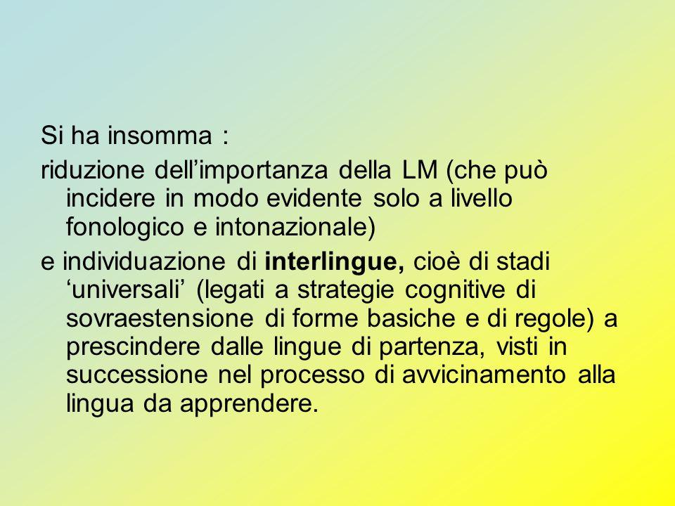 Si ha insomma :riduzione dell'importanza della LM (che può incidere in modo evidente solo a livello fonologico e intonazionale)
