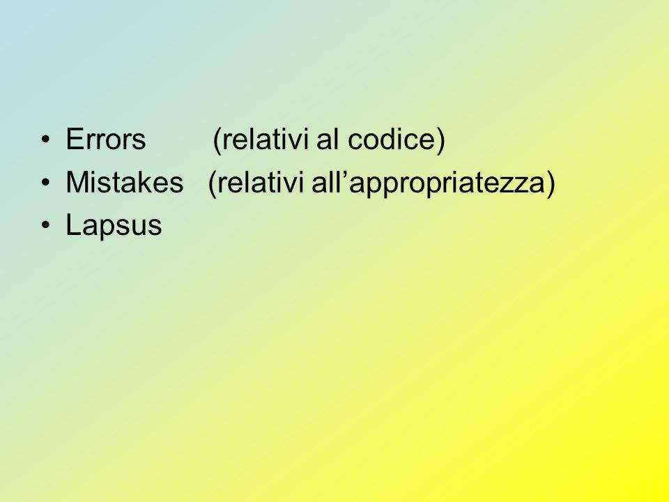 Errors (relativi al codice)