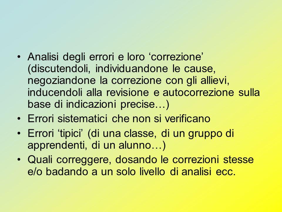 Analisi degli errori e loro 'correzione' (discutendoli, individuandone le cause, negoziandone la correzione con gli allievi, inducendoli alla revisione e autocorrezione sulla base di indicazioni precise…)