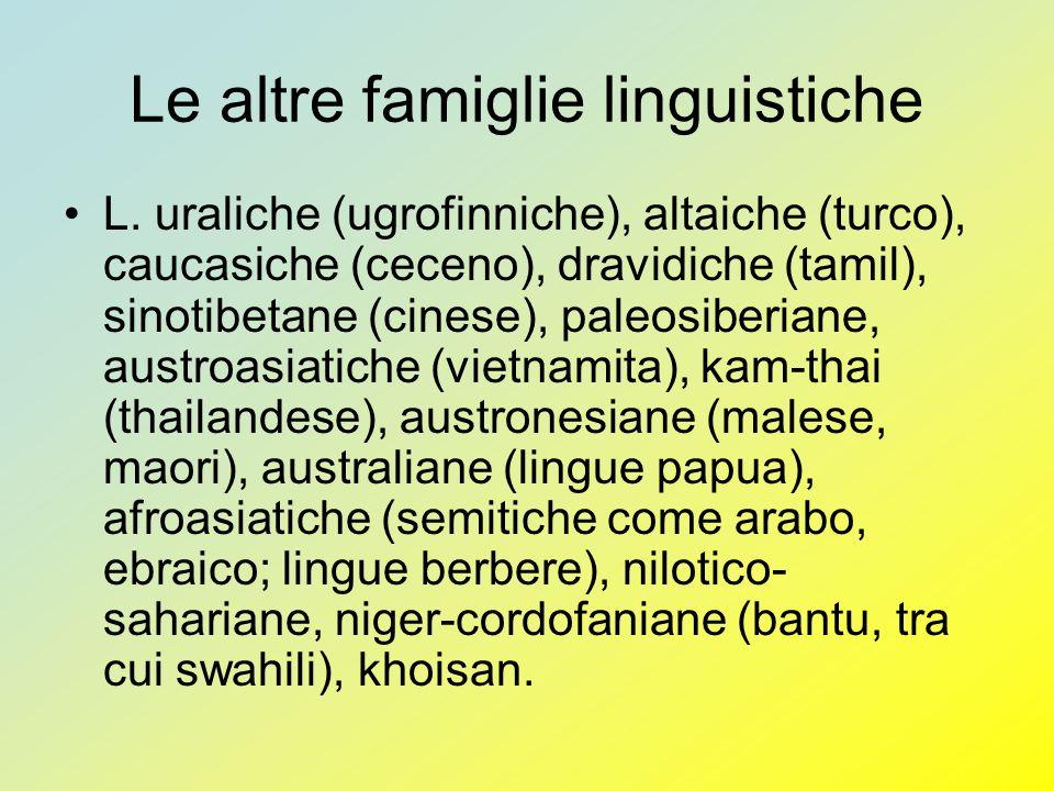 Le altre famiglie linguistiche