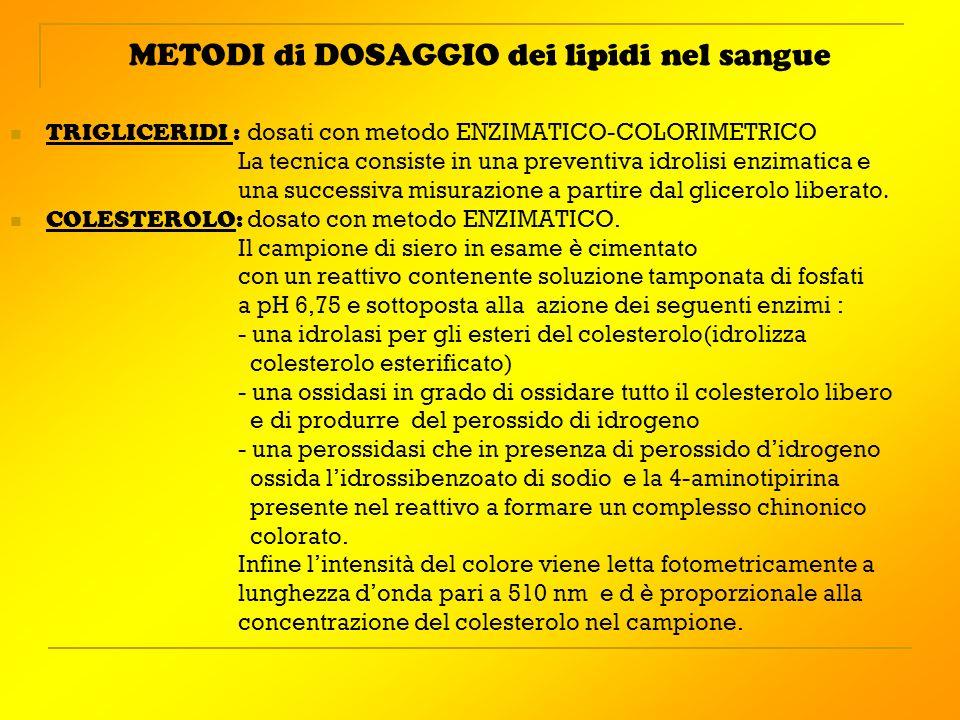 METODI di DOSAGGIO dei lipidi nel sangue