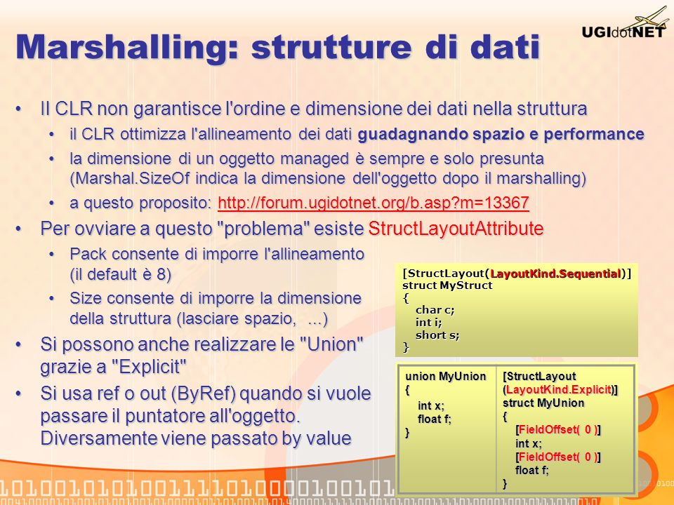 Marshalling: strutture di dati