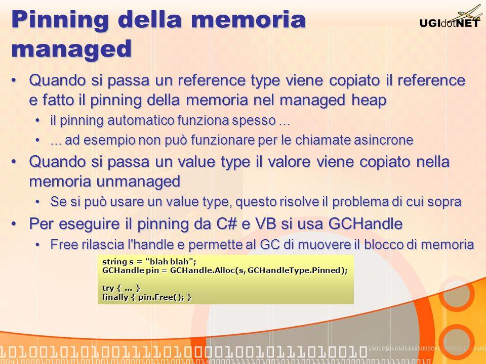 Pinning della memoria managed