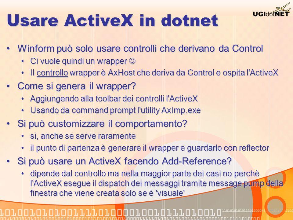 Usare ActiveX in dotnet