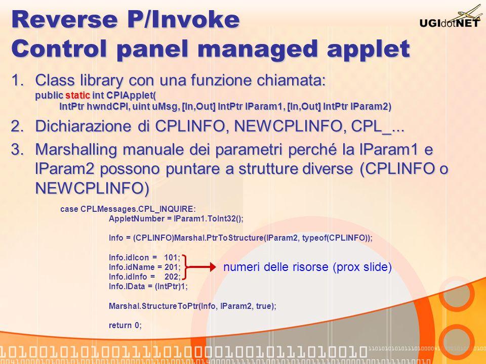 Reverse P/Invoke Control panel managed applet