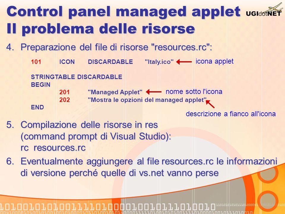 Control panel managed applet Il problema delle risorse