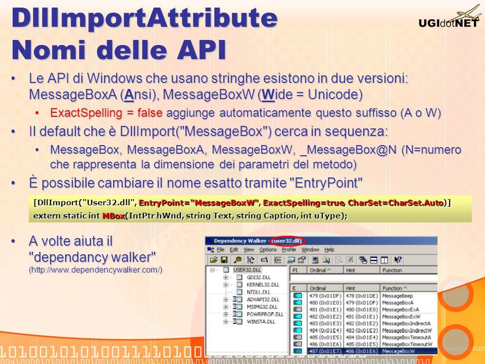DllImportAttribute Nomi delle API