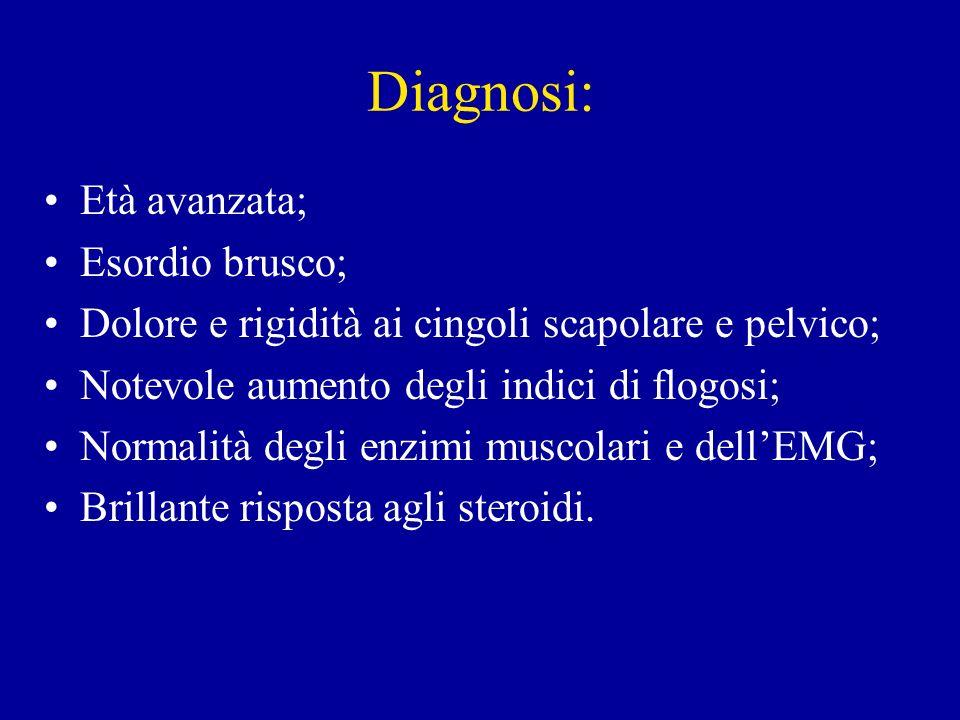Diagnosi: Età avanzata; Esordio brusco;