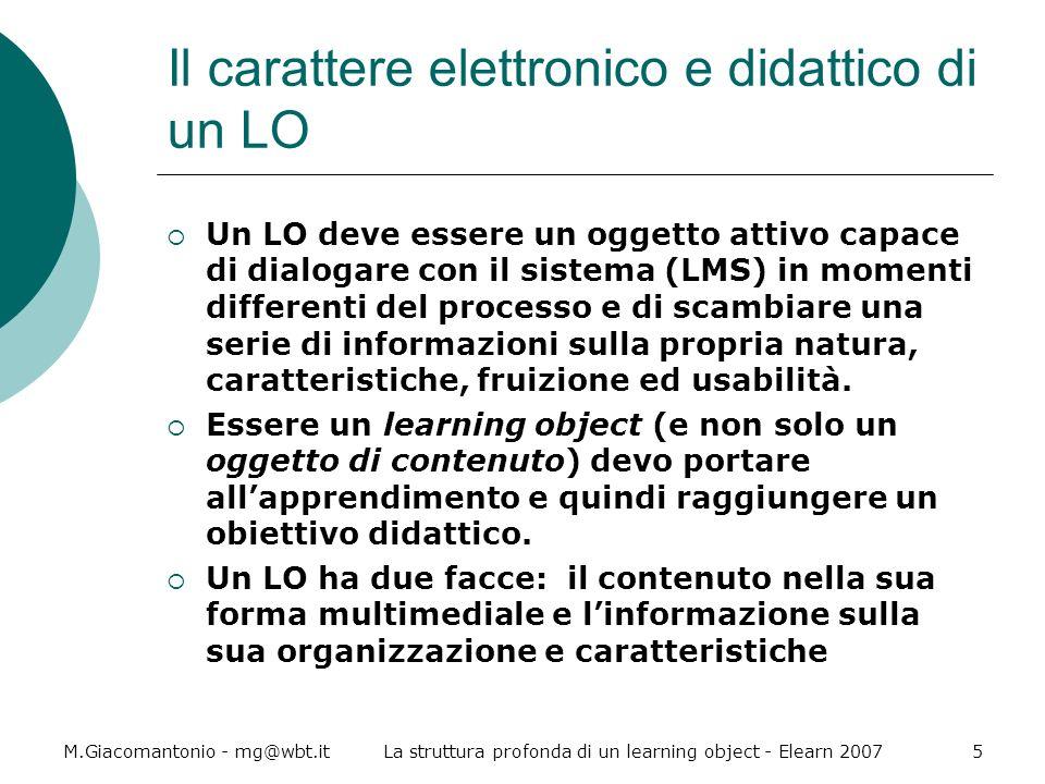 Il carattere elettronico e didattico di un LO