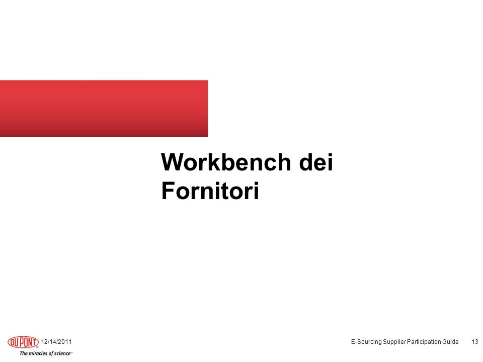 Workbench dei Fornitori