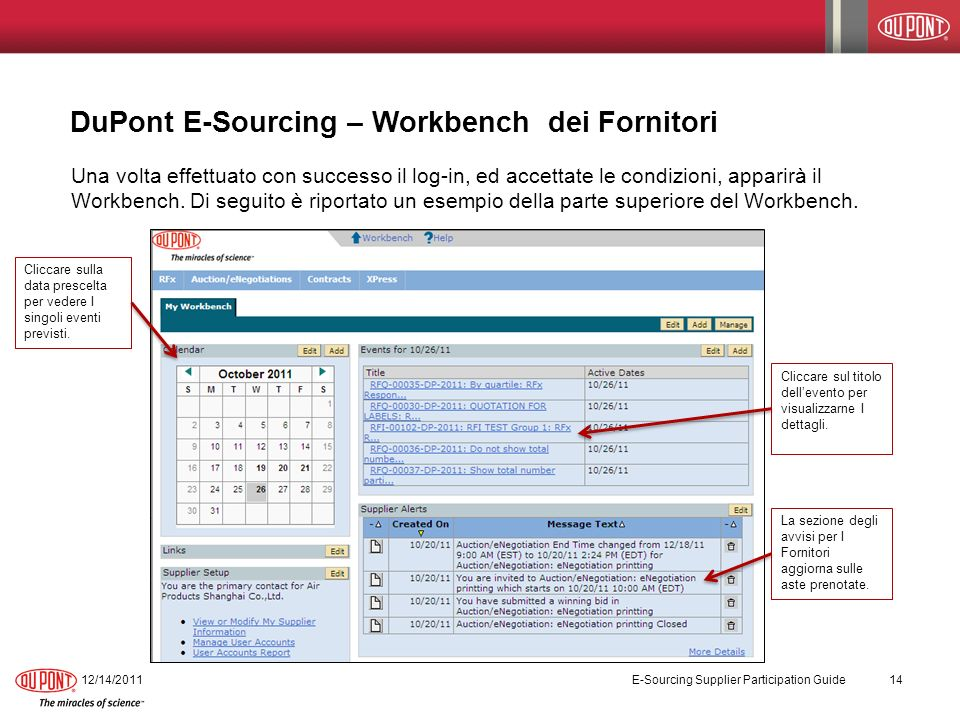 DuPont E-Sourcing – Workbench dei Fornitori