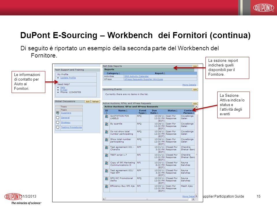 DuPont E-Sourcing – Workbench dei Fornitori (continua)