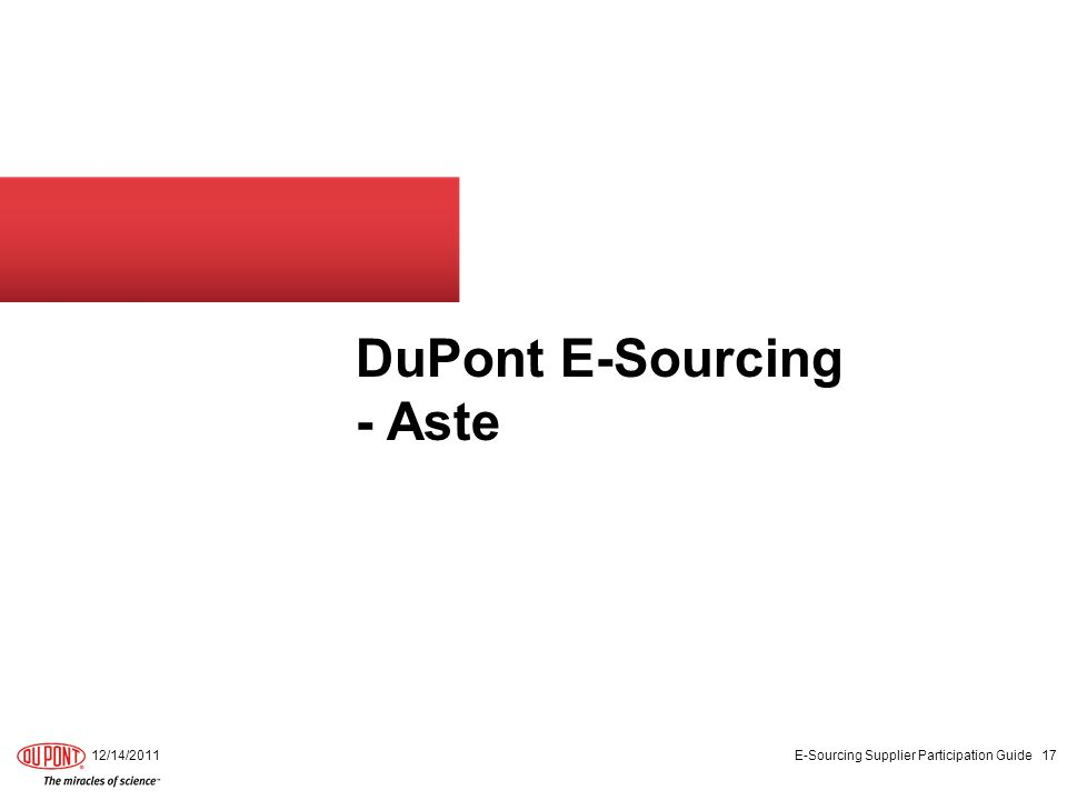 DuPont E-Sourcing - Aste