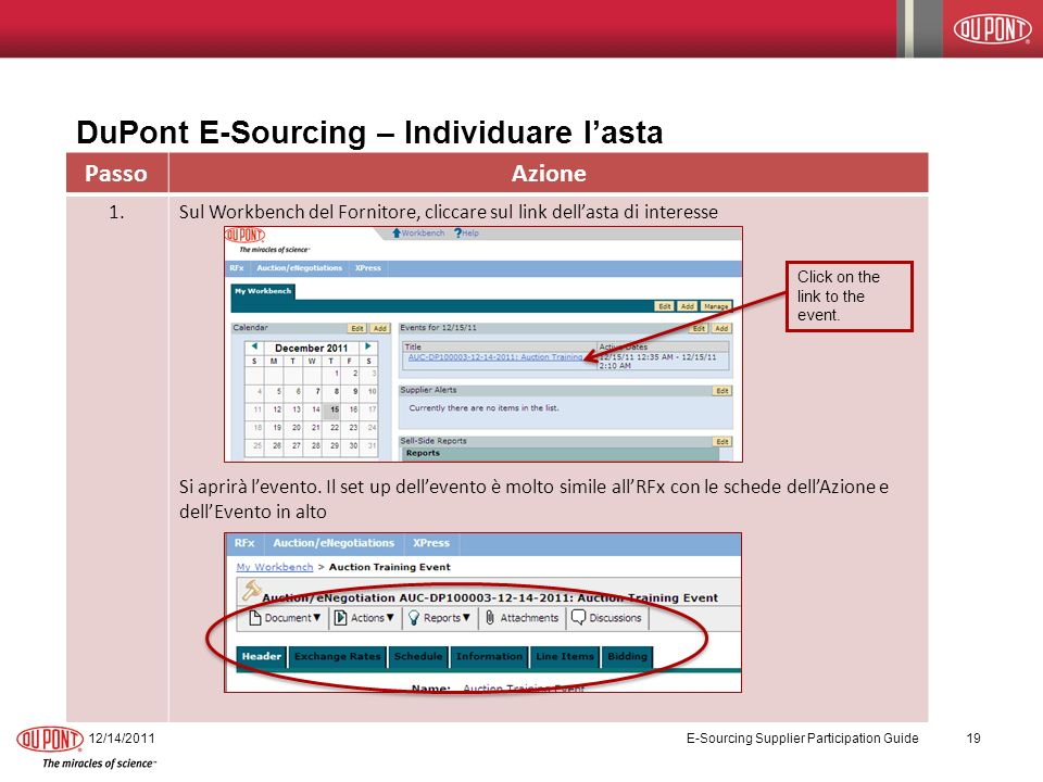 DuPont E-Sourcing – Individuare l'asta
