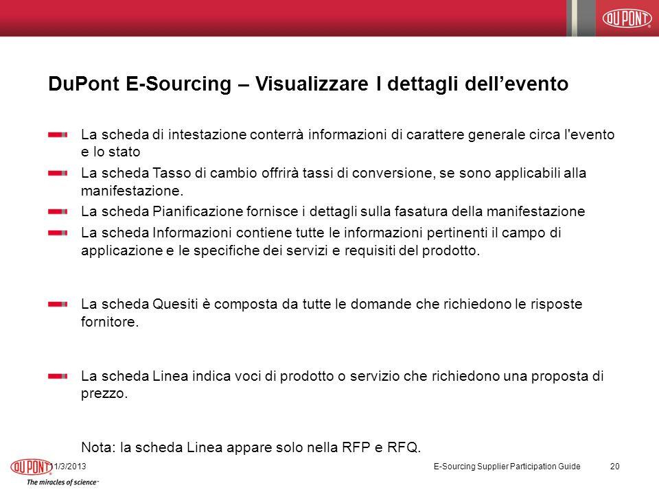 DuPont E-Sourcing – Visualizzare I dettagli dell'evento