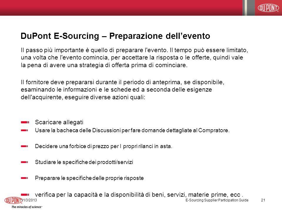 DuPont E-Sourcing – Preparazione dell'evento