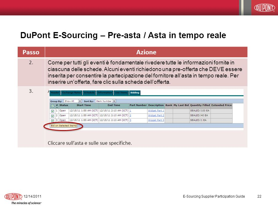 DuPont E-Sourcing – Pre-asta / Asta in tempo reale