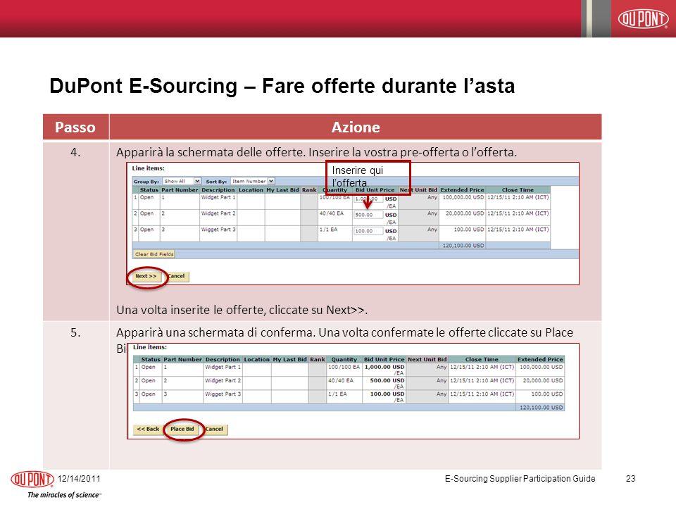DuPont E-Sourcing – Fare offerte durante l'asta