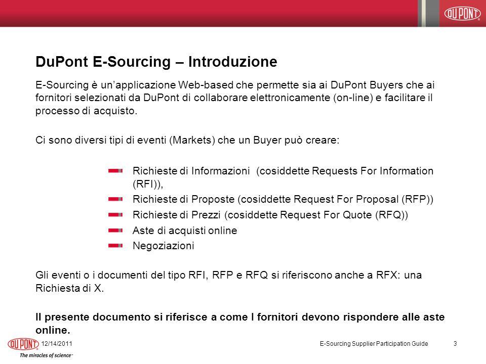 DuPont E-Sourcing – Introduzione